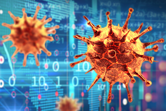 Coronavirus render over data